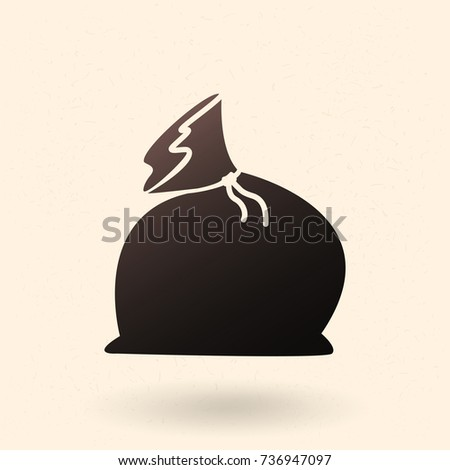 Vector Single Black Silhouette Icon - Christmas Gift Bag
