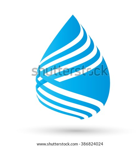 Vector Single Blue Water Drop Isolated on the White Background.  - stock vector