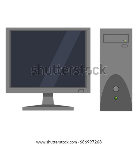 Vector Single Color Flat Icon - Monitor and System Unit. Personal Computer