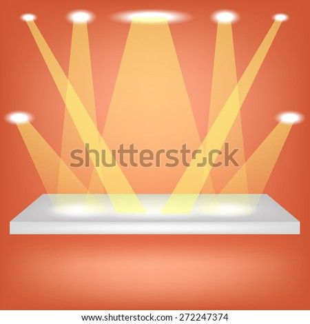 Vector Single Empty Shelf  Isolated on Orange Background. - stock vector