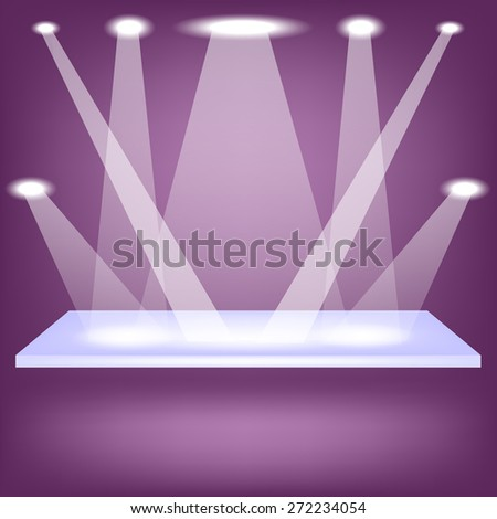 Vector Single Empy Shelf Isolated on Purple Background - stock vector