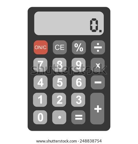 Vector Single Flat Calculator - stock vector