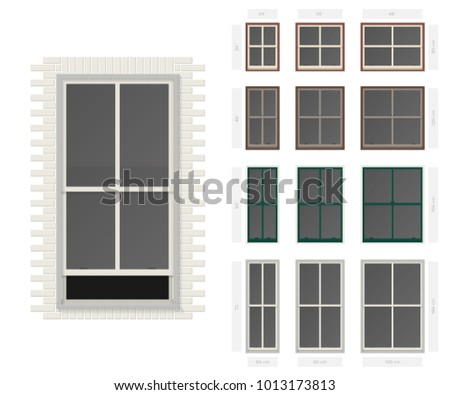 Vector single hung centre bar typical window set in different sizes and colors