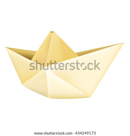 Vector Single Mesh Paper Origami Boat