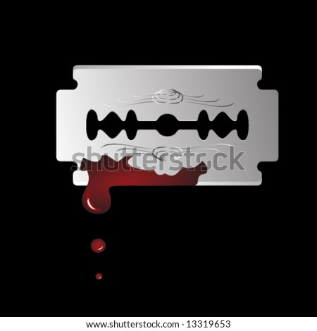 Vector. Single realistic razor blade with drops of red blood. - stock vector
