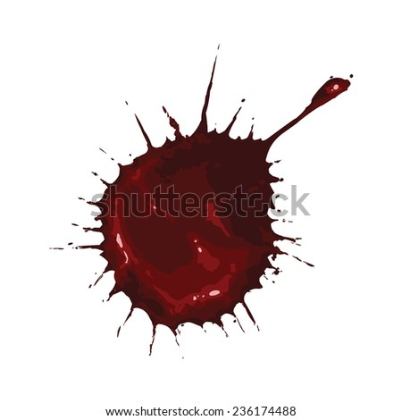 Vector Single Red Paint Spot - stock vector