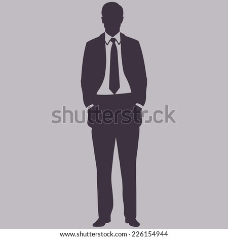 Vector Single Silhouette of Business Man. Man is Standing, His Hands in the Pockets. - stock vector