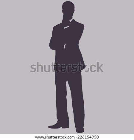 Vector Single Silhouette of Business Man. Man is Standing, One Hand on His Chin. Thoughtful Man - stock vector
