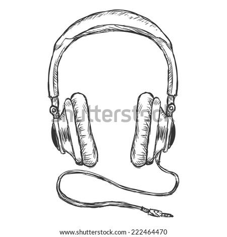 Vector Single Sketch Circumaural Headphones with Wire - stock vector