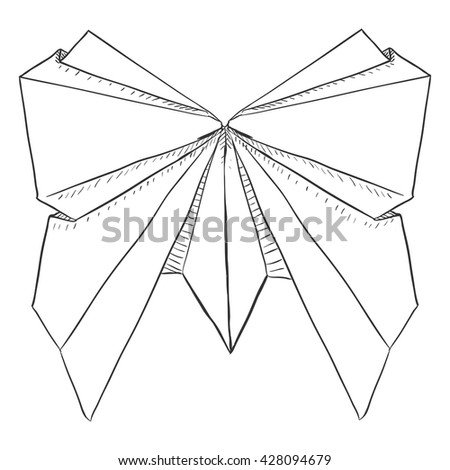 Vector Single Sketch Paper Butterfly Traditional Origami Thing