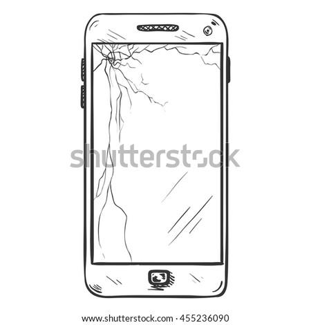 Vector Single Sketch Smartphone - stock vector
