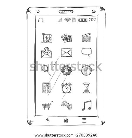 Vector Single Sketch Tablet PC  - stock vector