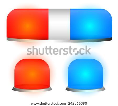 Vector siren lamps, emergency lights, flashers - stock vector