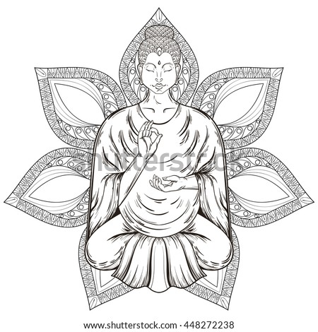 Vector Sitting Buddha God in Lotus pose, isolated on mandala, teaching Buddhism, tattoo art, religion t-shirt print. Monochrome vintage hand drawn illustration. Spiritual, yoga motifs, symbol of Asia. - stock vector
