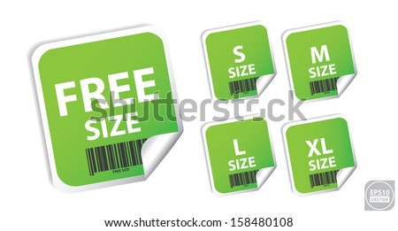 Vector: Size clothing green labels. Eps10. - stock vector