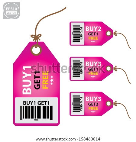 Vector: Size clothing pink labels.  - stock vector