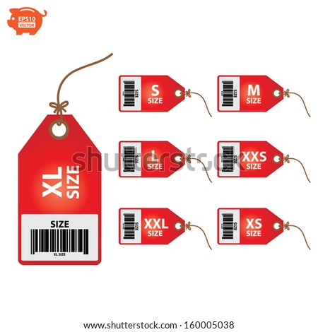 Vector: Size clothing red labels. EPS10. - stock vector