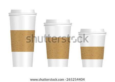 Vector 3 Sizes Paper Cup Set - stock vector