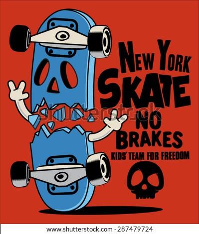 vector skateboard skull design - stock vector