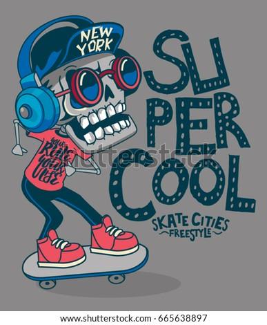 Skull Wing Helmet Logo Skateboard