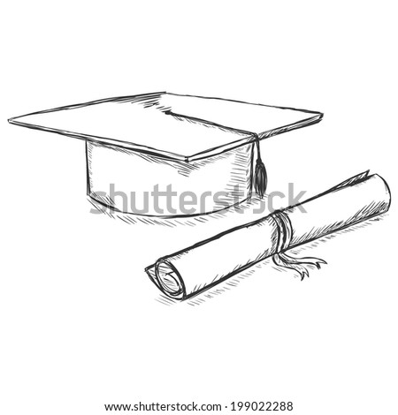 Vector Sketch Academic Hat and Diploma - stock vector