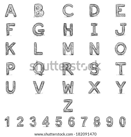Vector Sketch Alphabet with Numbers  - stock vector