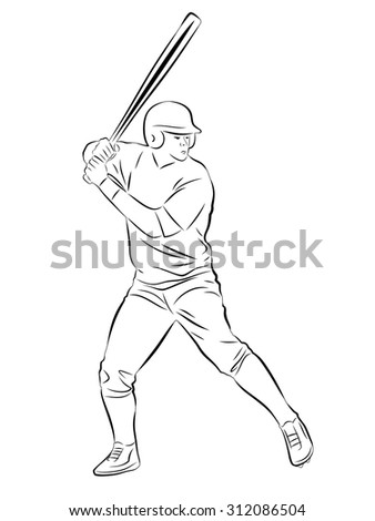 vector sketch baseball player. inning on bats.white background