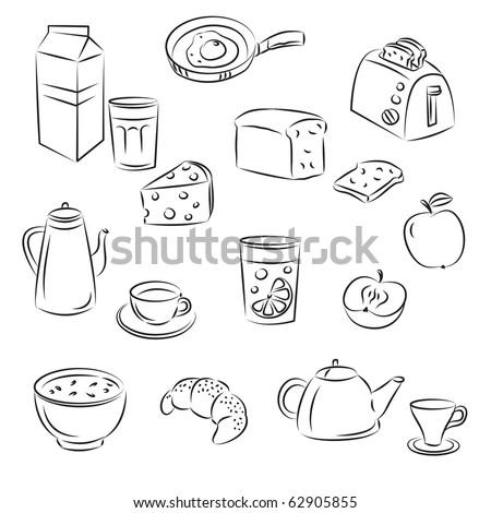 """Vector Sketch Clipart Set """"Breakfast food"""" - stock vector"""