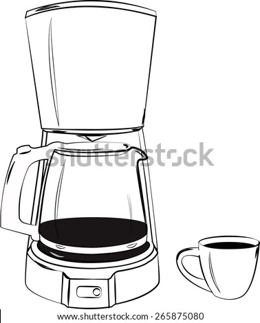 vector sketch coffee machine and cup
