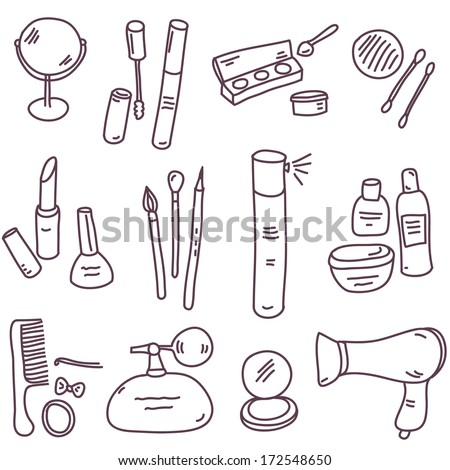 vector sketch cosmetics set - stock vector