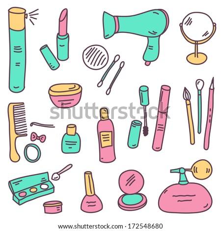 vector sketch cosmetics set - stock vector