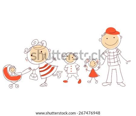 vector sketch family walking  - stock vector