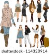 Vector sketch fashion women - stock vector