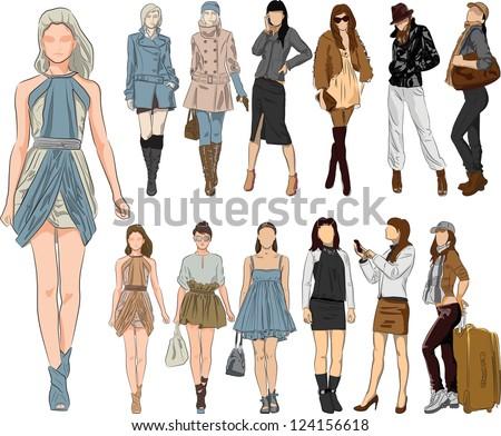 Vector sketch fashion women - stock vector