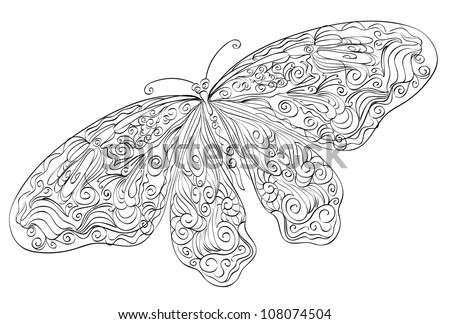 Vector sketch floral butterfly - stock vector