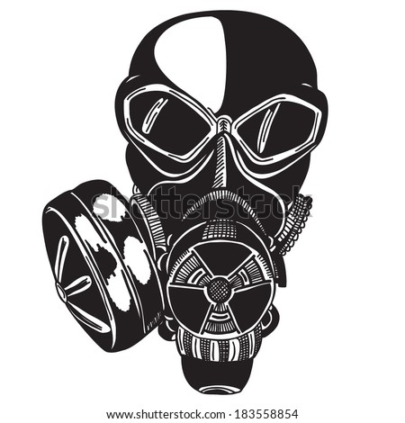 Army Gas Mask Drawing Vector Sketch Gas Mask Stock