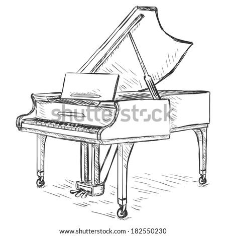 Vector Sketch Grand Piano - stock vector