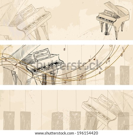 Vector Sketch Grand Piano on a light background. Banners