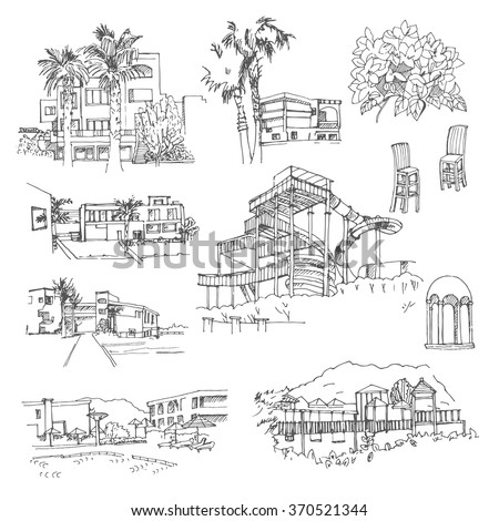 Vector sketch greek hotel. Hand drawn buildings and landscape elements. - stock vector