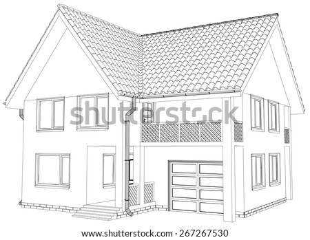 Vector Sketch House On The White Background EPS 10 Stock Vector