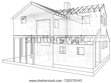 House blueprint stock images royalty free images vectors vector sketch house on the white background eps 10 vector created of 3d malvernweather Image collections