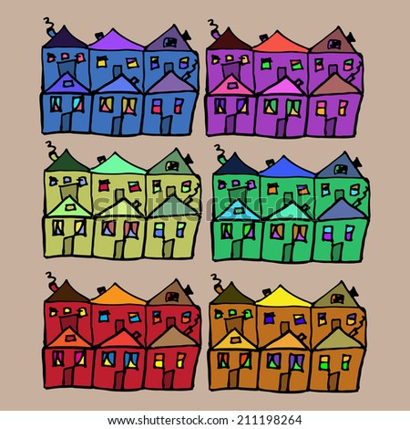 Vector sketch houses with a different color - stock vector