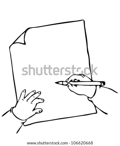 Vector sketch - human hands with pencil writting something. - stock vector