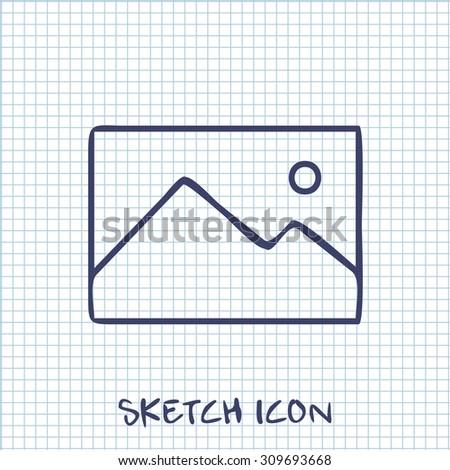Vector sketch icon of image photo  - stock vector