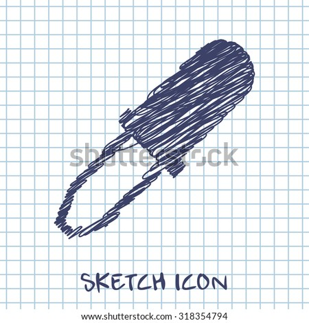 vector sketch icon of pipette  - stock vector
