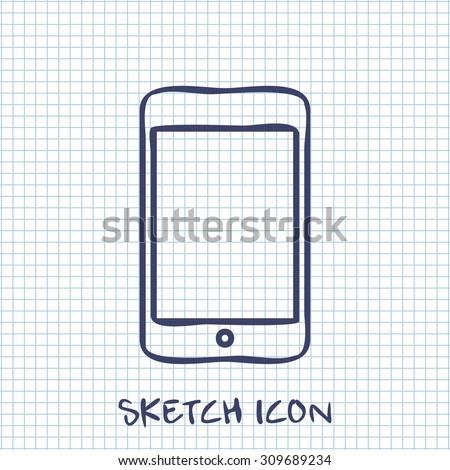 Vector sketch icon of smartphone  - stock vector