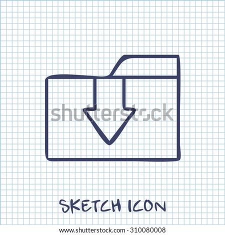 Vector sketch icon of upload folder  - stock vector
