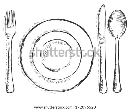 vector sketch illustration -  cutlery: fork, plate, knife, spoon - stock vector
