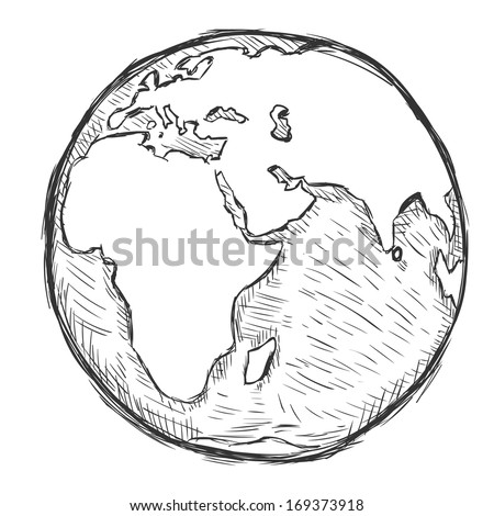 vector sketch illustration - globe - stock vector