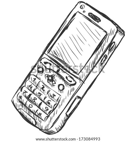 vector sketch illustration - mobile phone